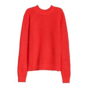 H&M ☀ Red Knitted Turtleneck Mockneck Zip Sweater